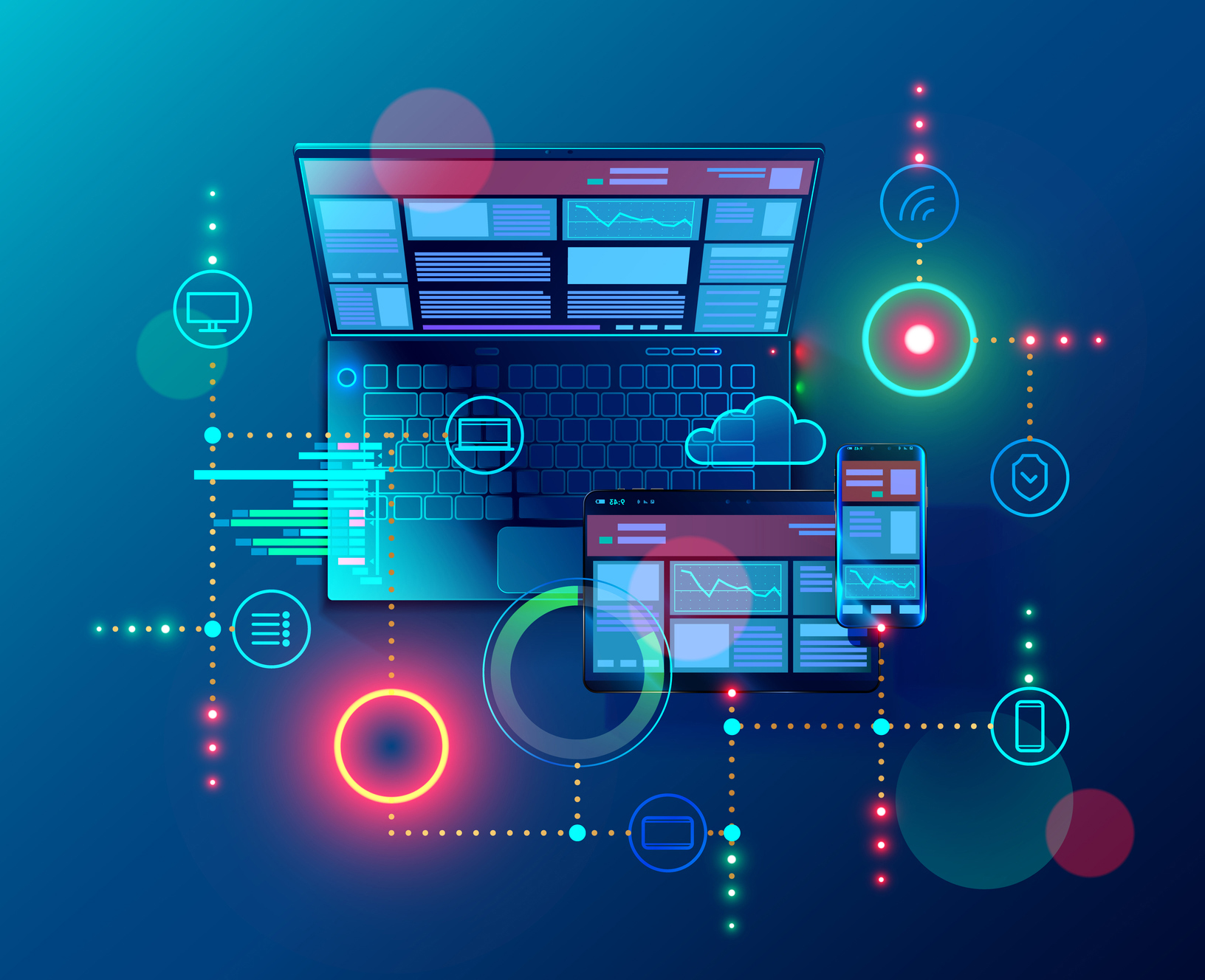 Creation responsive internet website for multiple platforms. Building mobile interface on screen of laptop, tablet, smartphone. Layout content on display devices. Conceptual banner of web technology.